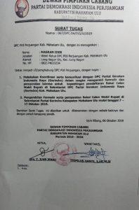 Surat Tugas DPC PDIP Mahulu untuk Masran Ider