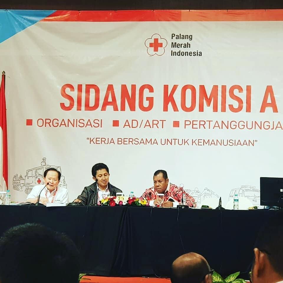 Sidang Komisi A Munas PMI ke XXI tahun 2019 dengan pimpinan sidang Sekretaris PMI Kabupaten PPU, Wahidin Alaudin (Foto PMI Kaltim)